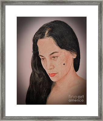 Portrait Of A Long Haired Filipina Beautfy With A Mole On Her Cheek Fade To Black Version Framed Print by Jim Fitzpatrick