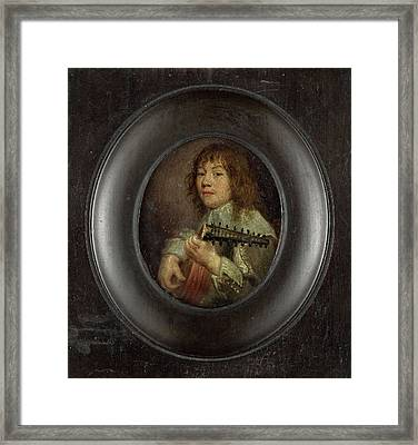 Portrait Of A Lute Player, Anonymous Framed Print by Litz Collection
