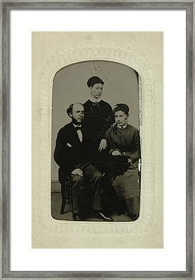 Portrait Of A Man And Two Women, Jordan Bros Ferro Type Framed Print