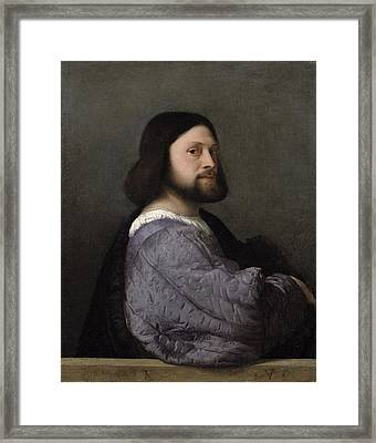 Portrait Of A Man, C.1512 Oil On Canvas Framed Print by Titian
