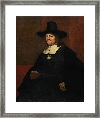 Portrait Of A Man In A Tall Hat Framed Print
