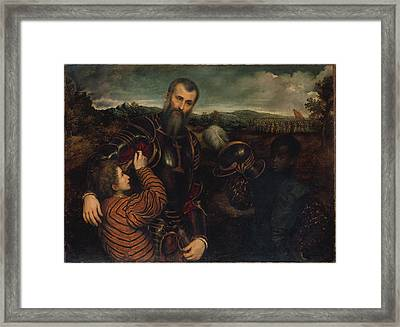 Portrait Of A Man In Armor With Two Pages Framed Print by Paris Bordon