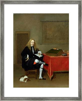 Portrait Of A Man In His Study, C.1668-69 Oil On Canvas Framed Print