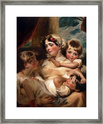 Portrait Of A Mother And Her Children Possibly Mrs. Weddell Framed Print