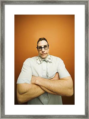 Portrait Of A Nerd Framed Print by Darren Greenwood