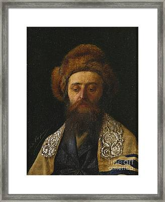 Portrait Of A Rabbi With Tallit Framed Print by Celestial Images