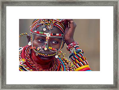 Portrait Of A Samburu Maiden Framed Print by Panoramic Images