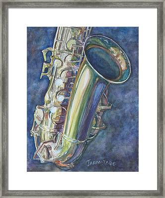 Portrait Of A Sax Framed Print