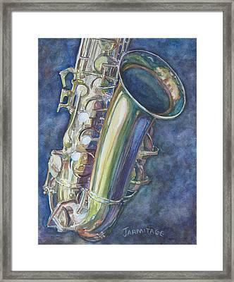 Portrait Of A Sax Framed Print by Jenny Armitage
