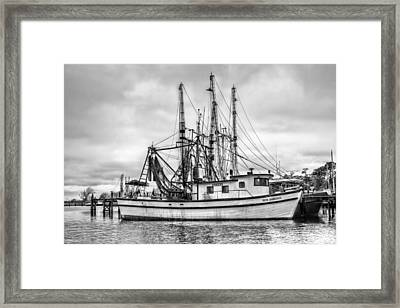 Portrait Of A Shrimp Boat Bw Framed Print by JC Findley