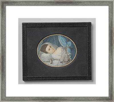 Portrait Of A Sick Girl Lying In Bed, George Nikolaus Ritter Framed Print