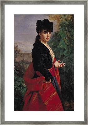 Portrait Of A Spanish Woman Framed Print by Heinrich Wilhelm Schlesinger