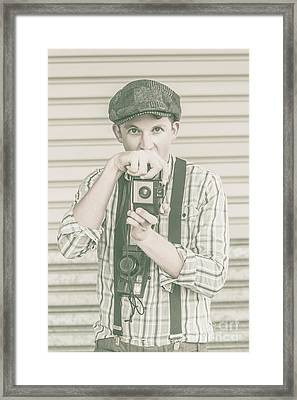 Portrait Of A Surprised Photographer Framed Print
