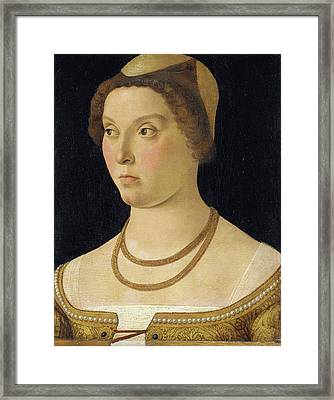 Portrait Of A Woman, Circle Of Giovanni Bellini Framed Print