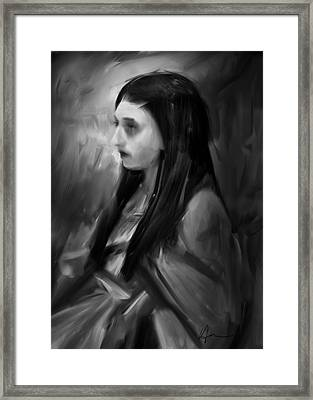 Portrait Of A Woman Framed Print by H James Hoff
