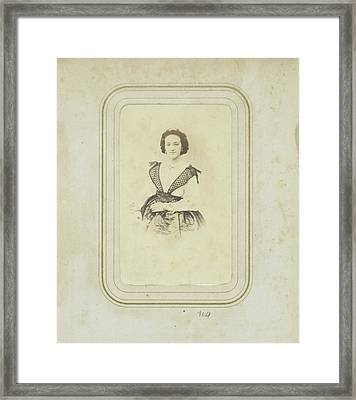 Portrait Of A Woman In A Full Skirt With A White Blouse Framed Print