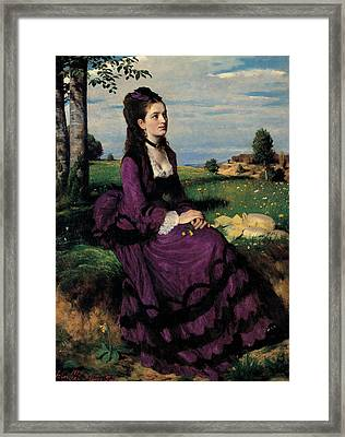 Portrait Of A Woman In Lilac Framed Print by Pal Szinyei Merse