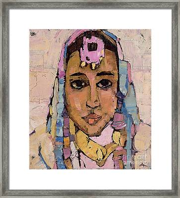 Portrait Of A Woman In White Framed Print