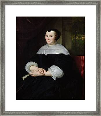 Portrait Of A Woman Oil On Canvas Framed Print by Abraham Lamberts Jacobsz van den Tempel