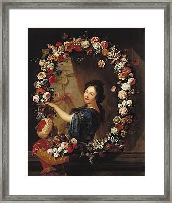 Portrait Of A Woman Surrounded By Flowers, Presumed To Be Julie Dangennes Oil On Canvas Framed Print by J-B. Belin de Fontenay