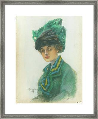 Portrait Of A Woman Wearing A Green Gown Framed Print by Stuart Travis