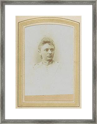 Portrait Of A Woman With A High-necked Blouse With Pin Framed Print