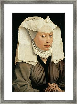 Portrait Of A Woman With A Winged Bonnet Framed Print by Rogier van der Weyden