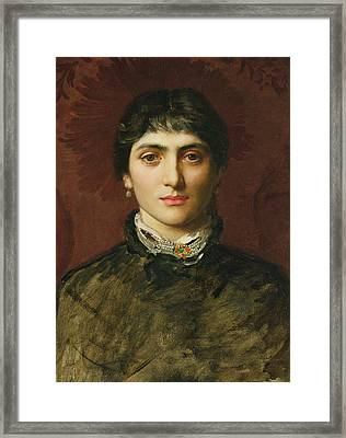 Portrait Of A Woman With Dark Hair Framed Print by Valentine Cameron Prinsep