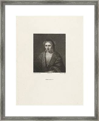 Portrait Of A Woman With Pearl Earrings, Print Maker Framed Print by Lambertus Antonius Claessens And Rembrandt Harmensz. Van Rijn And Dubois