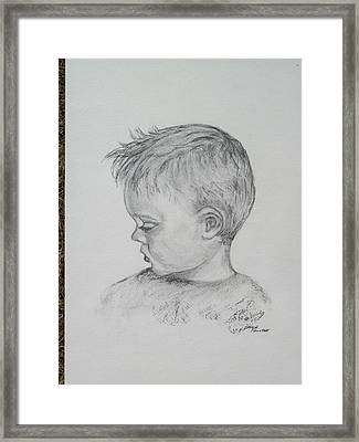 Portrait Of A Young Boy Framed Print by Paula Rountree Bischoff