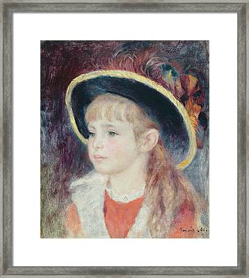 Portrait Of A Young Girl In A Blue Hat, 1881 Oil On Canvas Framed Print by Pierre Auguste Renoir
