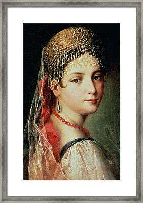 Portrait Of A Young Girl In Sarafan And Kokoshnik Framed Print