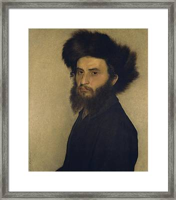 Portrait Of A Young Jewish Man  Framed Print by Isidor Kaufmann
