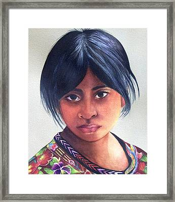Portrait Of A Young Mayan Girl Framed Print