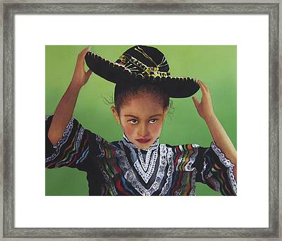 Portrait Of A Young Mexican Girl Framed Print