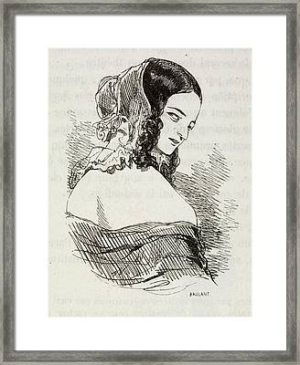 Portrait Of A Young Woman. Framed Print by British Library
