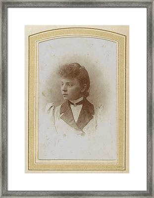Portrait Of A Young Woman With Upswept Hair Framed Print by Artokoloro