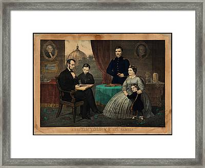 Portrait Of Abraham Lincoln And His Family Framed Print