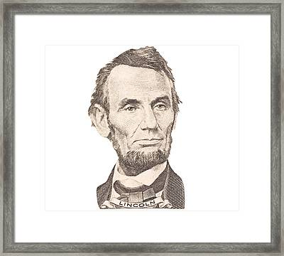 Portrait Of Abraham Lincoln On White Background Framed Print