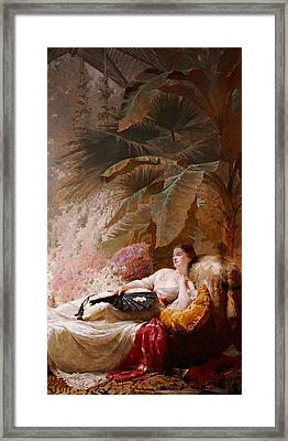 Portrait Of Adelaide Maria Guiness Reclining On A Sofa In A Conservatory Framed Print by George Elgar Hicks