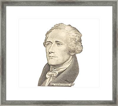 Portrait Of Alexander Hamilton On White Background Framed Print