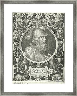 Portrait Of Alexander The Great In Medallion Framed Print by Nicolaes De Bruyn