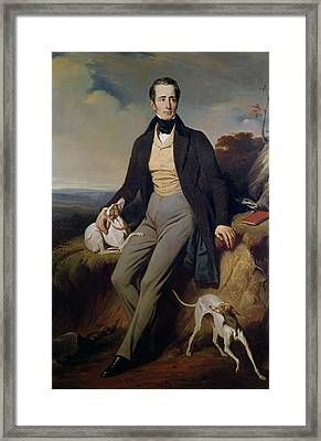 Portrait Of Alphonse De Lamartine 1790-1869 1830 Oil On Canvas Framed Print by Henri Decaisne