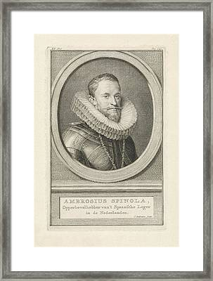 Portrait Of Ambrogio Spinola, Jacob Houbraken Framed Print by Jacob Houbraken