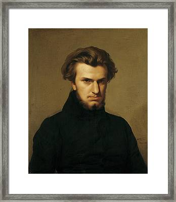 Portrait Of Ambroise Thomas 1811-96 1834 Oil On Canvas Framed Print by Hippolyte Flandrin
