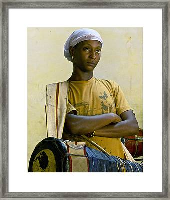 Portrait Of An Afro-cuban Drummer Framed Print