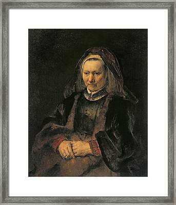 Portrait Of An Elderly Woman, C. 1650 Framed Print by Rembrandt Harmensz. van Rijn