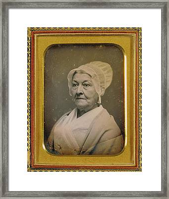 Portrait Of An Elderly Woman In An Amish-like Bonnet Framed Print by Litz Collection