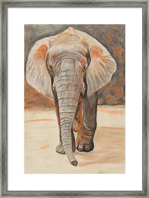 Framed Print featuring the painting Portrait Of An Elephant by Jeanne Fischer