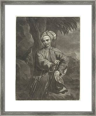 Portrait Of An Oriental With A Turban, Print Maker Arnout Framed Print